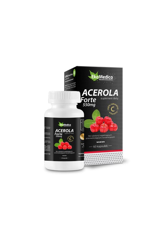 Acerola Forte 550mg kapsułki 60szt*EKAMEDICA* TERMIN: 10.02.2021