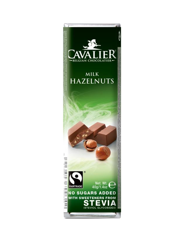 Baton mleczna czekolada /orzechy laskowe słodzony stewią 40g*CAVALIER*