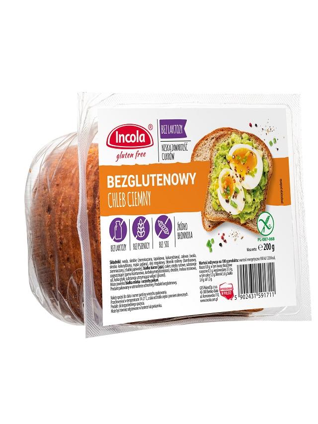 Chleb ciemny krojony bezglutenowy 200g*INCOLA* TERMIN: 21.08.2020