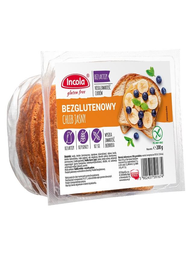 Chleb jasny krojony bezglutenowy 200g*INCOLA* TERMIN: 21.08.2020