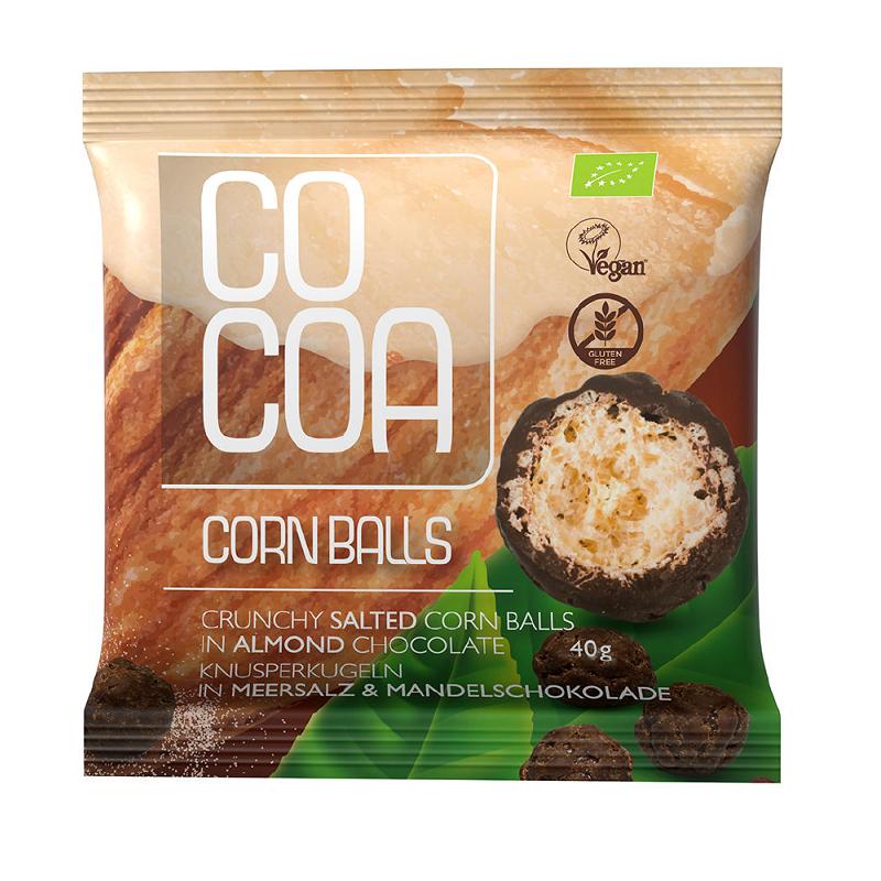 Chrupki **Corn Balls** kukurydziane w czekoladzie migdałowej bezglutenowe 40g*COCOA*BIO