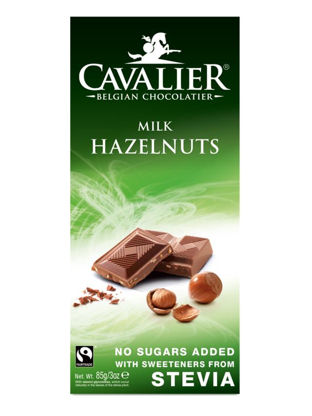 Czekolada mleczna z orzechami laskowymi słodzona stewią 85g*CAVALIER*