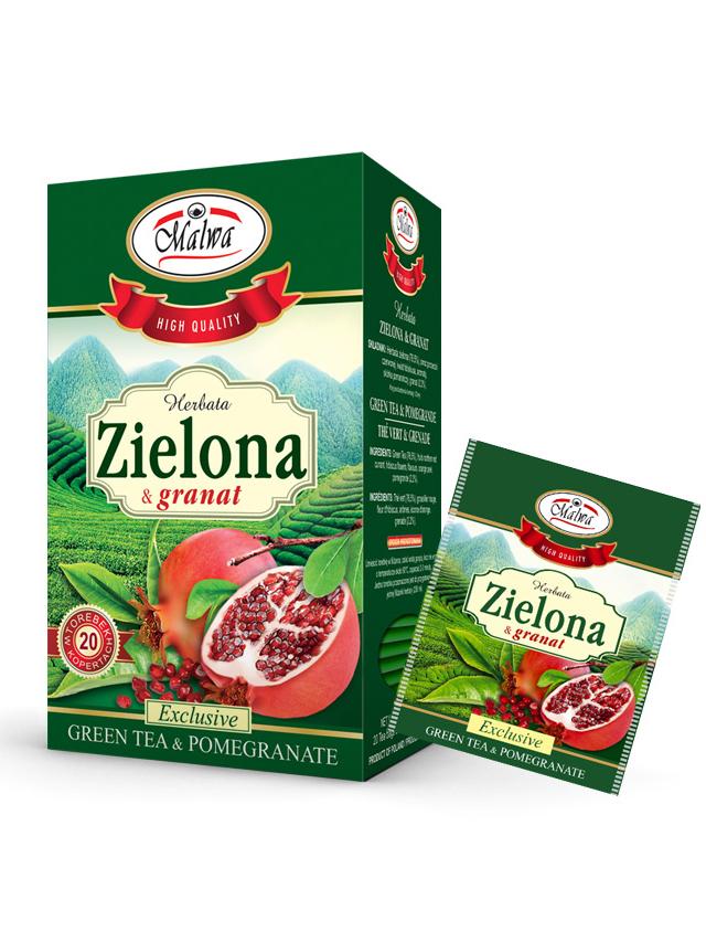 Herbata zielona / granat ekspres 20T*MALWA* TERMIN: 30.11.2021
