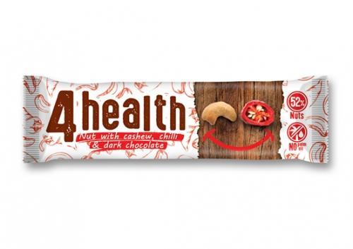 Baton orzechowy / orzechy nerkowca / chilli / ciemna czekolada 30g*4HEALTH*