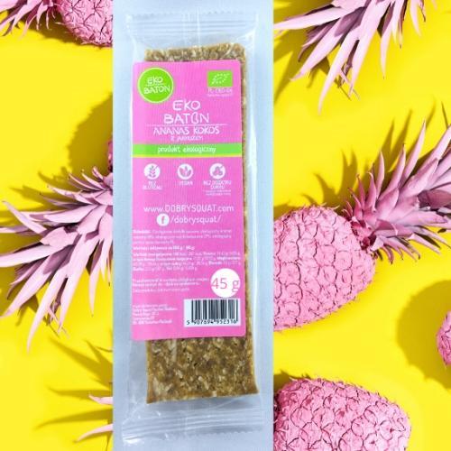 Baton daktylowy / ananas / kokos 45g*DOBRY SQUAT*BIO