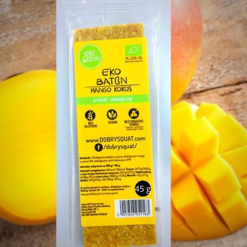 Baton daktylowy / mango / kokos 45g*DOBRY SQUAT*BIO
