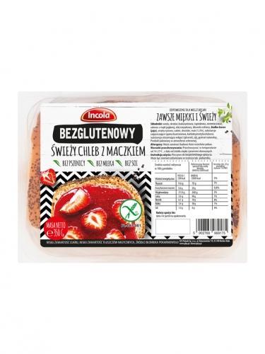 Chleb świeży z maczkiem krojony bezglutenowy 350g*INCOLA* TERMIN: 04.09.2020