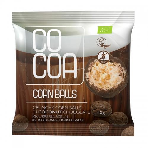 Chrupki **Corn Balls** kukurydziane w czekoladzie kokosowej bezglutenowe 40g*COCOA*BIO