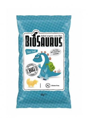 Chrupki kukurydziane bezglutenowe solone 50g*BIOSAURUS*BIO - opakowanie zbiorcze po 12 szt.