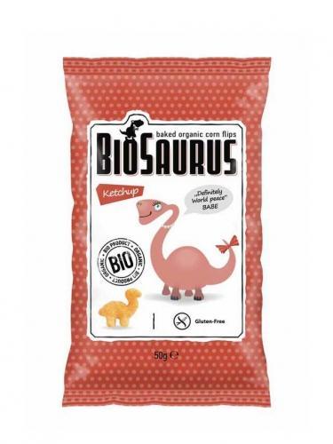Chrupki kukurydziane bezglutenowe z ketchupem 50g*BIOSAURUS*BIO - opakowanie zbiorcze po 12 szt.