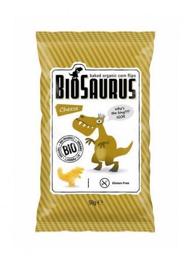 Chrupki kukurydziane bezglutenowe z serem 50g*BIOSAURUS*BIO - opakowanie zbiorcze po 12 szt.