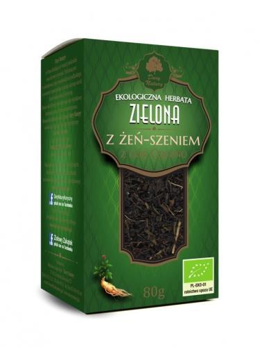 Herbata zielona cejlońska / żeń- szeń 80g*DARY NATURY*BIO  - najlepiej spożyć przed: 01.10.2020