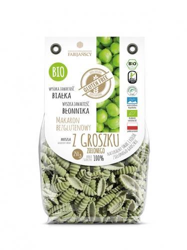 Makaron z groszku zielonego muszla bezglutenowy 250g*FABIJAŃSCY*BIO