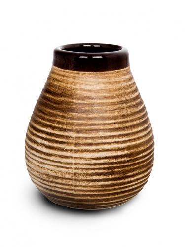 Matero ceramiczne prążek 350ml brązowe