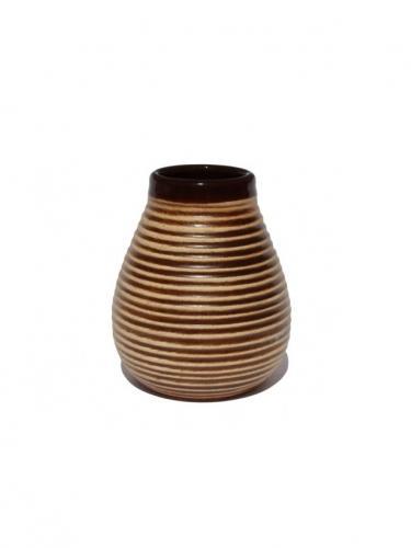 Matero ceramiczne prążek 250ml brązowe