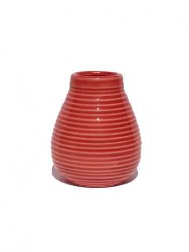 Matero ceramiczne prążek 350ml czerwone