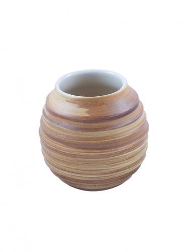 Matero ceramiczne prążek duże 350ml miodowe / białe