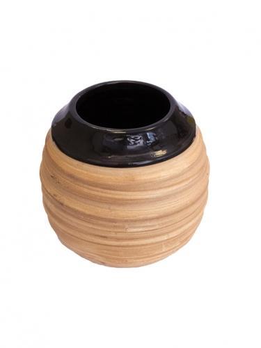 Matero ceramiczne prążek duże 350ml miodowe / czarne