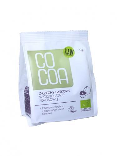 Orzechy laskowe w surowej czekoladzie kokosowej 70g*COCOA*BIO TERMIN: 04.09.2021