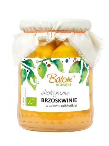Owoce w zalewie półsłodkiej **Brzoskwinie** 670g*BATOM*BIO - opakowanie zbiorcze po 8 szt.