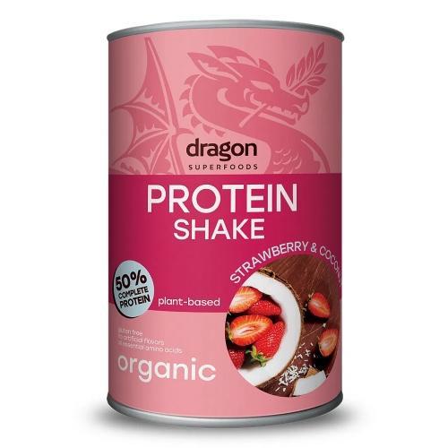 Shake białkowy truskawka / kokos proszek 450g*DRAGON SUPERFOODS*BIO